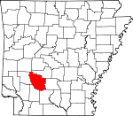 Map of Arkansas showing Clark County
