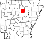 Map of Arkansas showing Cleburne County