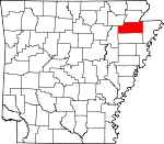 Map of Arkansas showing Craighead County