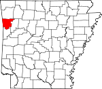 Map of Arkansas showing Crawford County