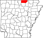Map of Arkansas showing Fulton County