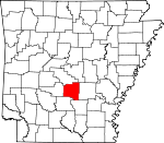 Map of Arkansas showing Grant County