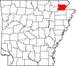 Map of Arkansas showing Greene County