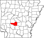 Map of Arkansas showing Hot Spring County