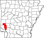 Map of Arkansas showing Howard County