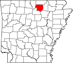 Map of Arkansas showing Izard County