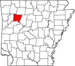 Map of Arkansas showing Johnson County