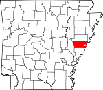 Map of Arkansas showing Lee County