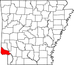 Map of Arkansas showing Little River County