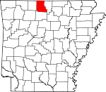Map of Arkansas showing Marion County