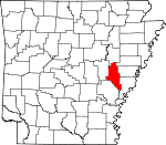 Map of Arkansas showing Monroe County