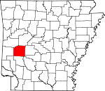 Map of Arkansas showing Montgomery County