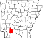 Map of Arkansas showing Nevada County