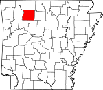 Map of Arkansas showing Newton County