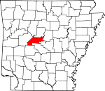 Map of Arkansas showing Perry County