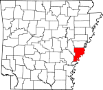 Map of Arkansas showing Phillips County