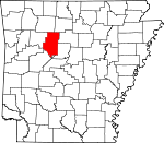 Map of Arkansas showing Pope County