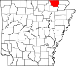 Map of Arkansas showing Randolph County