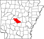 Map of Arkansas showing Saline County