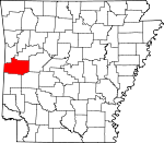 Map of Arkansas showing Scott County