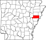 Map of Arkansas showing St. Francis County
