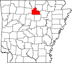 Map of Arkansas showing Stone County