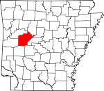 Map of Arkansas showing Yell County