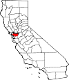 Map of California showing Contra Costa County