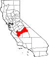 Map of California showing Fresno County