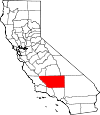 Map of California showing Kern County