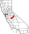 Map of California showing Madera County