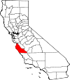 Map of California showing Monterey County