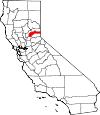 Map of California showing Nevada County