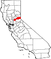 Map of California showing Placer County