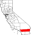 Map of California showing Riverside County