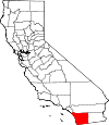 Map of California showing San Diego County