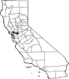 Map of California showing San Francisco County