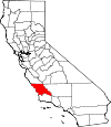 Map of California showing San Luis Obispo County