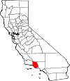 Map of California showing Ventura County