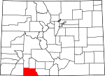 Map of Colorado showing Archuleta County