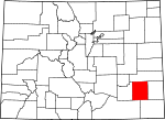 Map of Colorado showing Bent County
