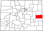 Map of Colorado showing Cheyenne County