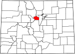 Map of Colorado showing Clear Creek County