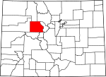 Map of Colorado showing Eagle County
