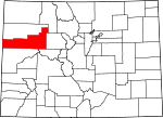 Map of Colorado showing Garfield County