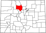 Map of Colorado showing Grand County