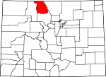 Map of Colorado showing Jackson County