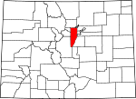 Map of Colorado showing Jefferson County