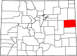 Map of Colorado showing Kit Carson County