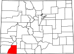 Map of Colorado showing La Plata County